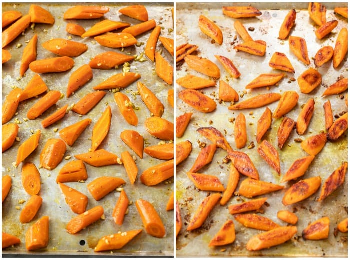 Roasted carrots on a baking sheet before and after baking.