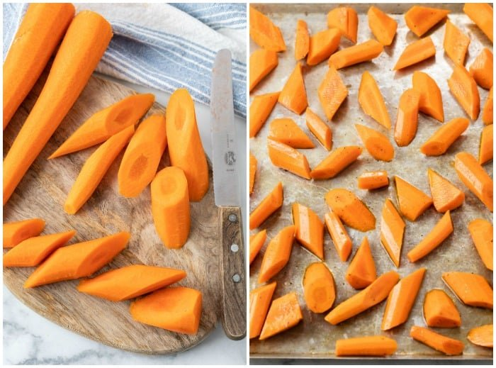 Showing how to make roasted carrots by slicing them and placing them on a baking sheet.