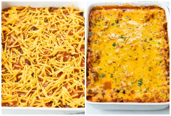 Showing how to make Taco Lasagna by adding cheese to the top and baking it in a casserole dish.