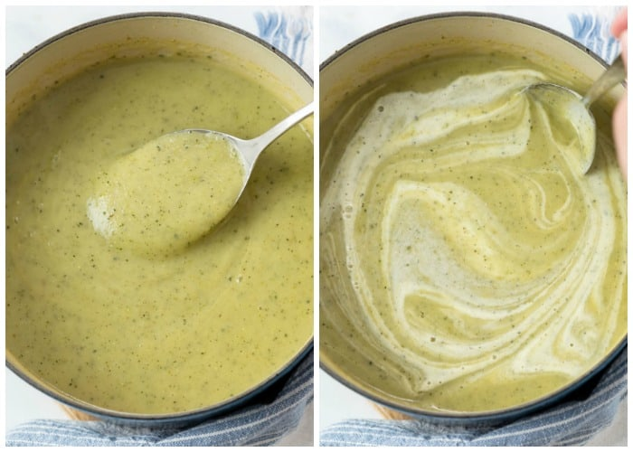 Zucchini soup in a pot after being blended and adding cream in.
