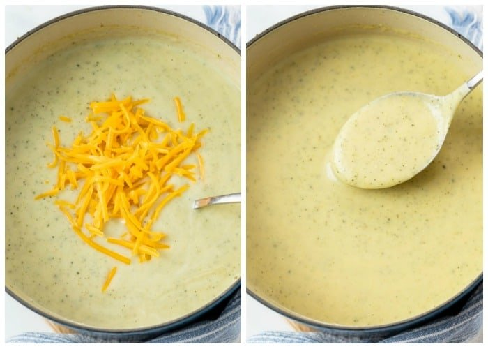 Adding cheddar cheese to a soup pot of zucchini soup until creamy.