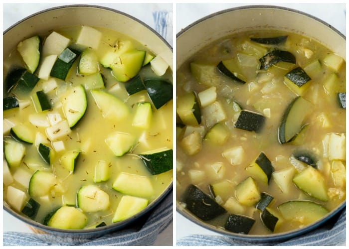 Showing how to make zucchini soup by combining diced zucchini, potatoes, seasoning, and chicken broth in a pot.