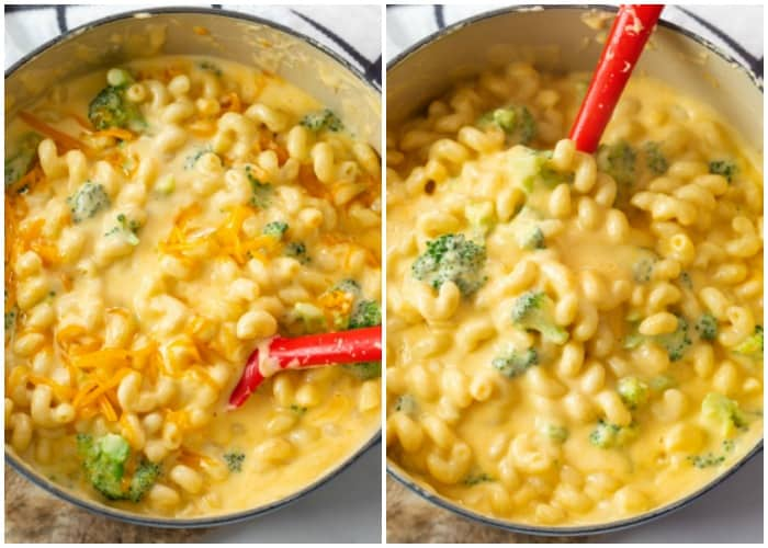 Stirring cheese into a pot of broccoli mac and cheese.