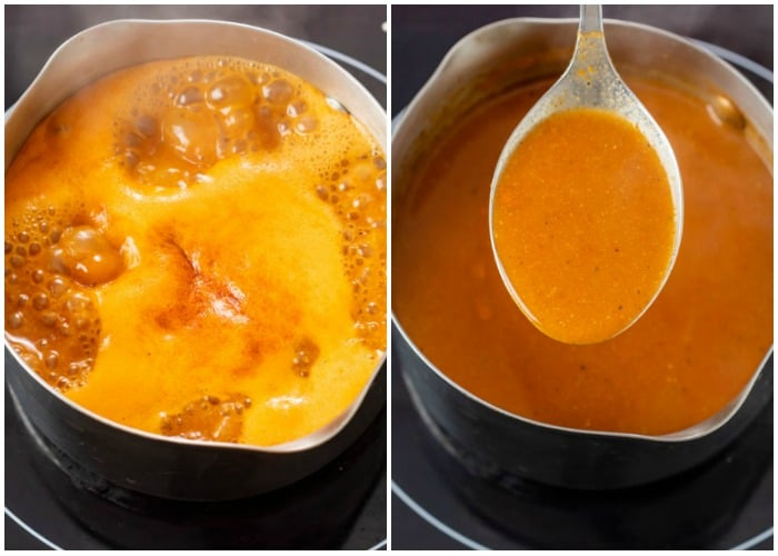 Showing how to make red enchilada sauce by boiling the liquid in a saucepan and then simmering.