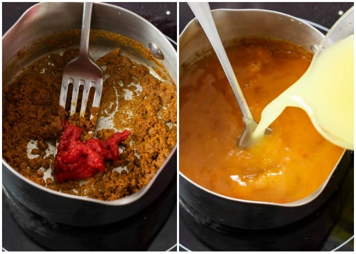 Showing how to make red enchilada sauce in a pan with oil, seasonings, tomato paste, and chicken broth.