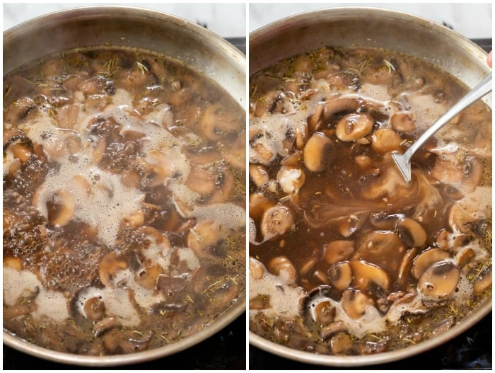 Showing how to make mushroom gravy by bringing mushrooms and beef broth to a boil and adding a slurry.