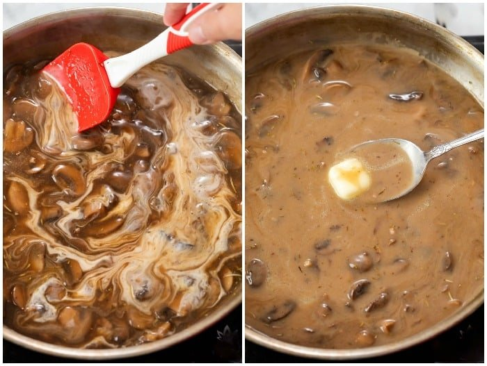 Showing how to make mushroom gravy by swirling cream and cold butter in at the end.