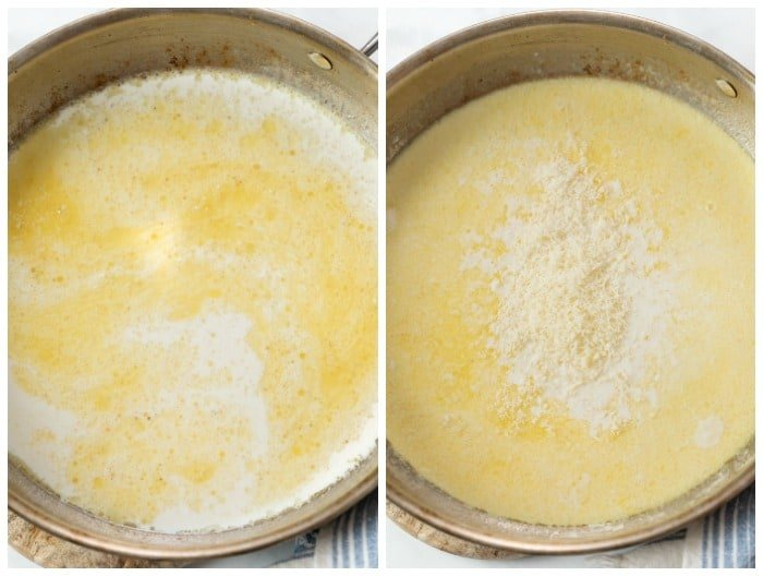 A skillet with chicken broth and half and half with Parmesan cheese being added to make a cream sauce.