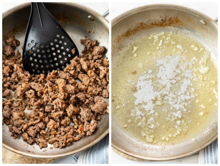 A skillet with ground sausage and then melted butter, garlic, and flour to make a cream sauce.