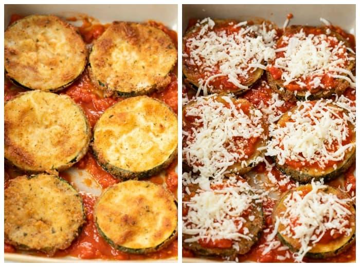 Arranging Zucchini Parmesan in a Casserole Dish before baking.