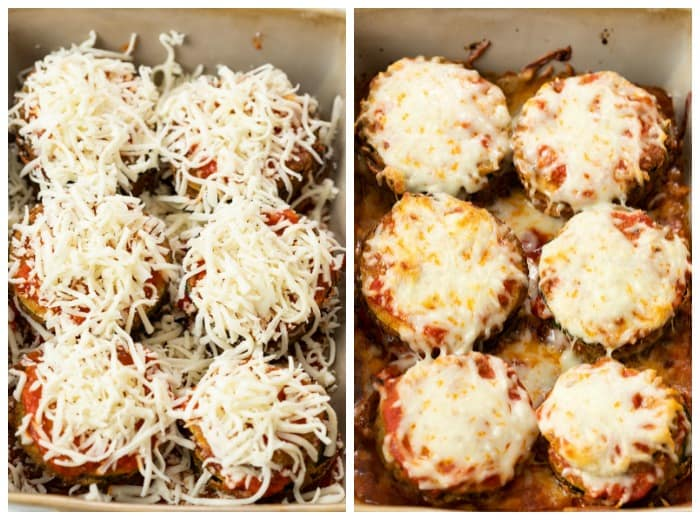 Zucchini Parmesan in a casserole dish before and after baking.
