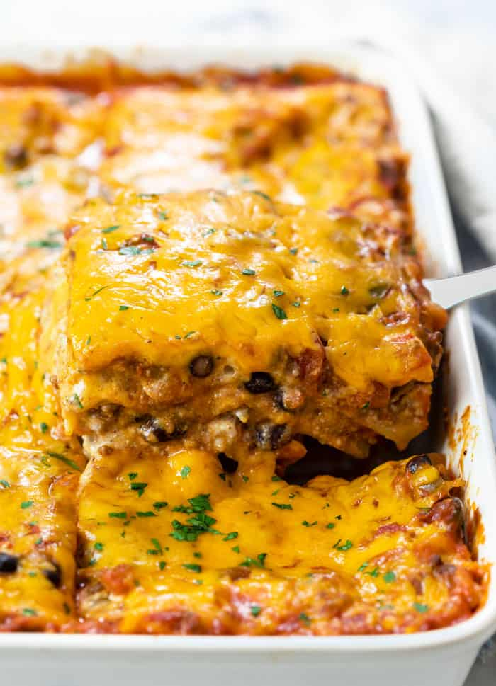 Taco Lasagna No Boiling Needed The Cozy Cook