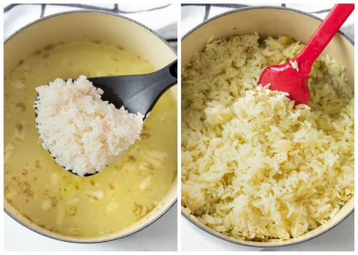 A dutch oven with white rice before and after being cooked in a pot.