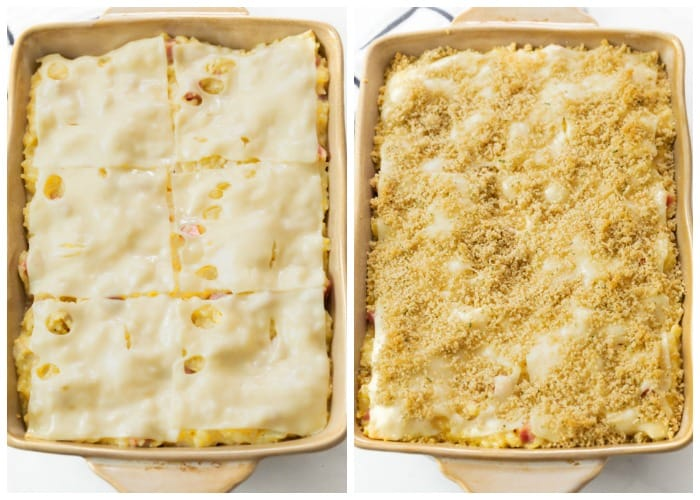 Chicken Cordon Bleu Casserole topped with Swiss Cheese and Breadcrumbs.