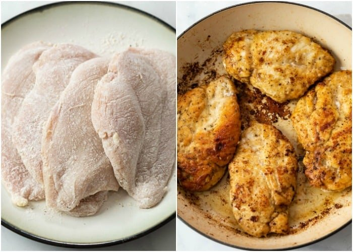 A pan with floured chicken breasts before and after being seared.