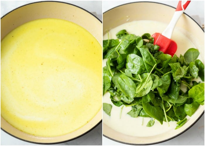 A pan with chicken broth and cream with spinach being added to make chicken florentine.