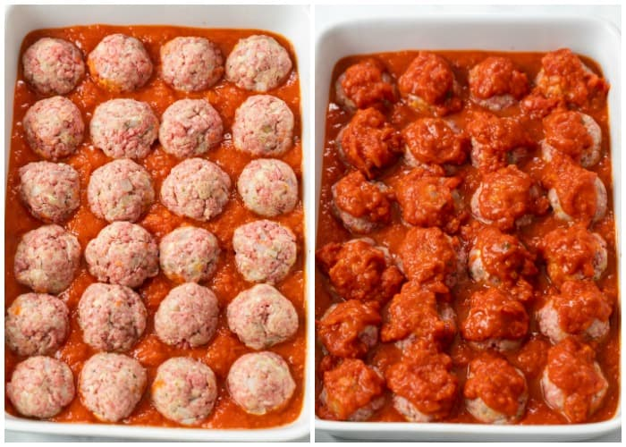 A white casserole dish with uncooked meatballs topped with marinara sauce.