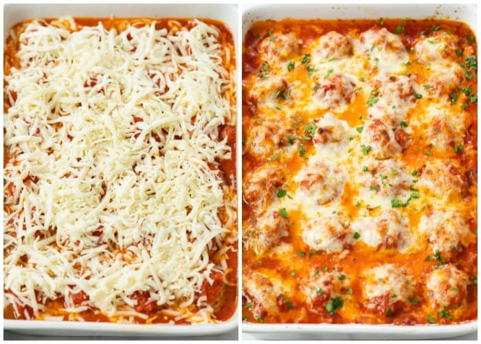 A casserole dish with baked meatballs topped with cheese before and after being baked.