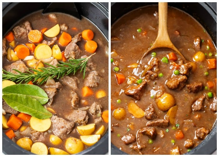 Slow Cooker Beef Stew before and after cooking.