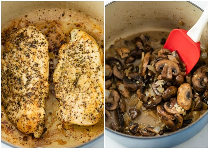 A pot of seared chicken next to a pot of sauteed mushrooms and onions for making Chicken Tetrazzini.