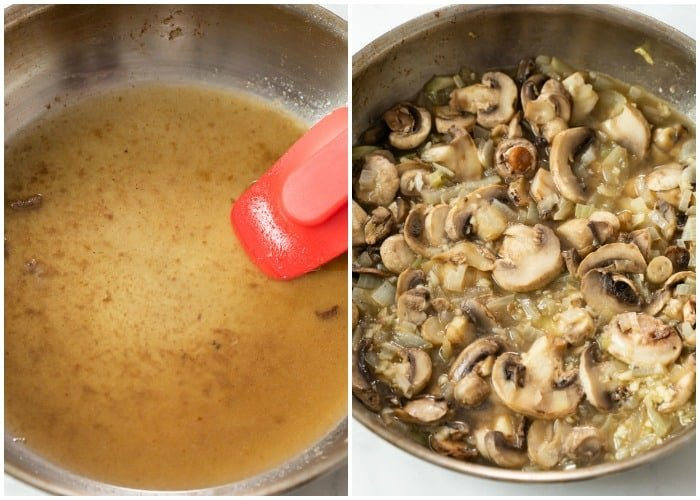 Deglazing a pan with white wine and cooking onions and mushrooms in it.