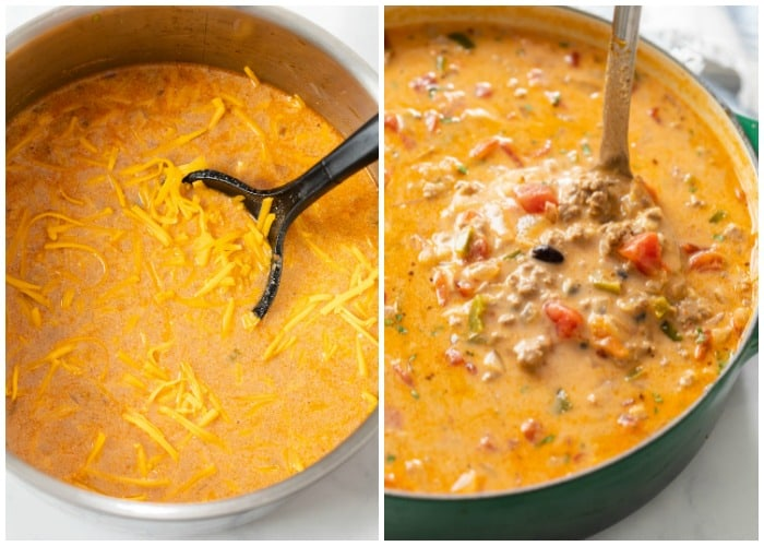 Taco soup with cheese being added and a ladle scooping it up.