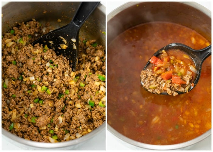 A soup pot filled with ground beef next to a pot that's had broth and sauce added to make Taco Soup.