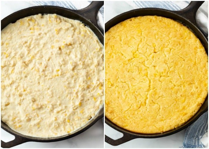 A cast iron skillet with corn casserole before and after baking.