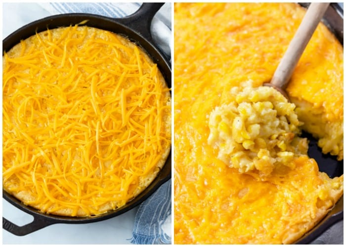 A corn casserole topped with cheese before baking, and a spoon scooping some out after baking.