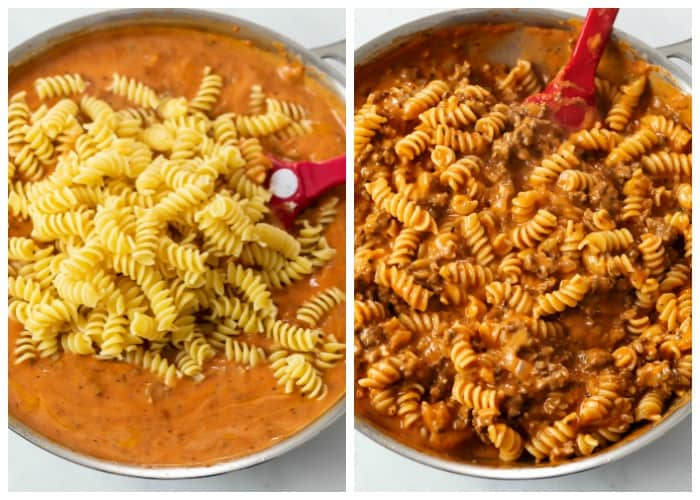 Adding rotini pasta to creamy sauce and combining it for Ground Beef Pasta.