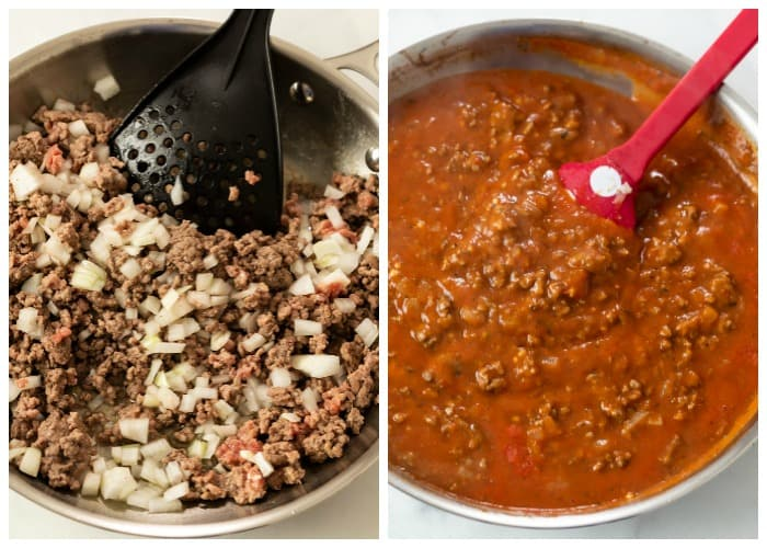 Ground beef in a skillet with tomato sauce being added to make Ground Beef Pasta.