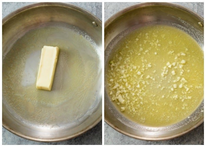 Melting butter in a skillet and adding minced garlic for Alfredo Sauce.