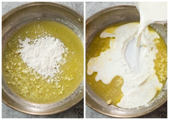Adding flour and cream to a skillet with butter to make Alfredo sauce