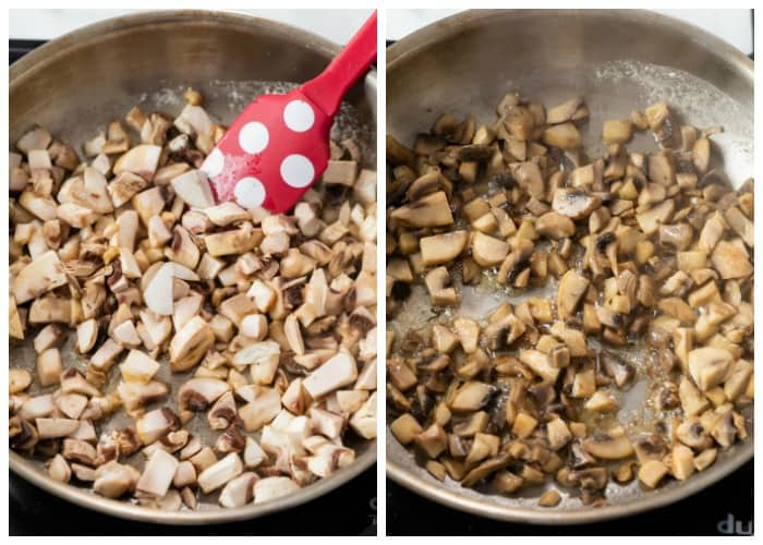 Cooking down diced mushrooms to make ream of mushroom soup.
