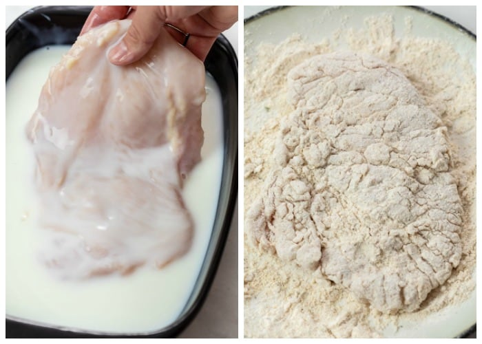 Chicken being marinated in buttermilk and tossed in breading mix for Country Fried Chicken.