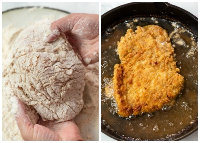 A piece of Country Fried Chicken before and after being fried.