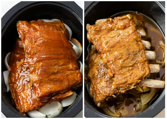 Racks of baby back ribs before and after being cooked in the Slow Cooker.