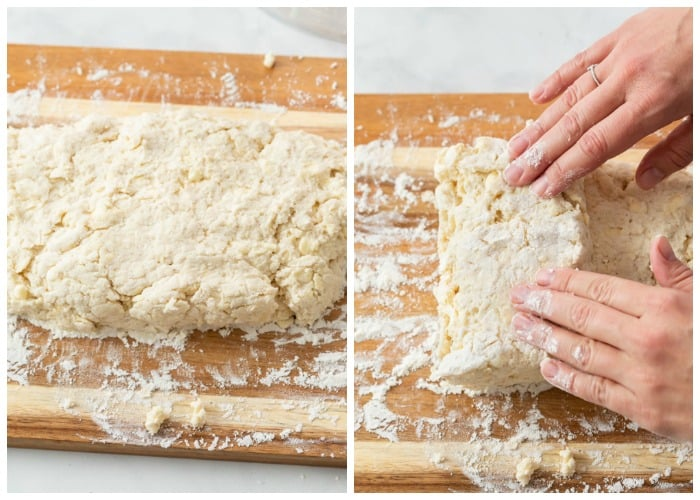 Buttermilk Biscuit Dough being rolled and folded.
