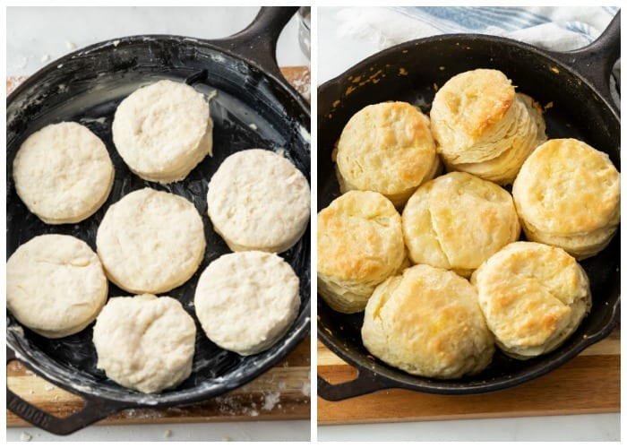 Buttermilk biscuits in a cast iron skillet before and after being baked.
