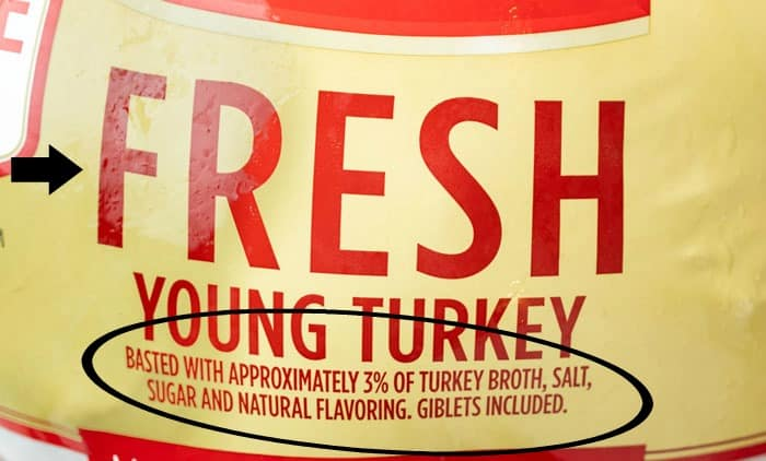 The label of a fresh turkey showing that it was basted with 3% of salt solution.