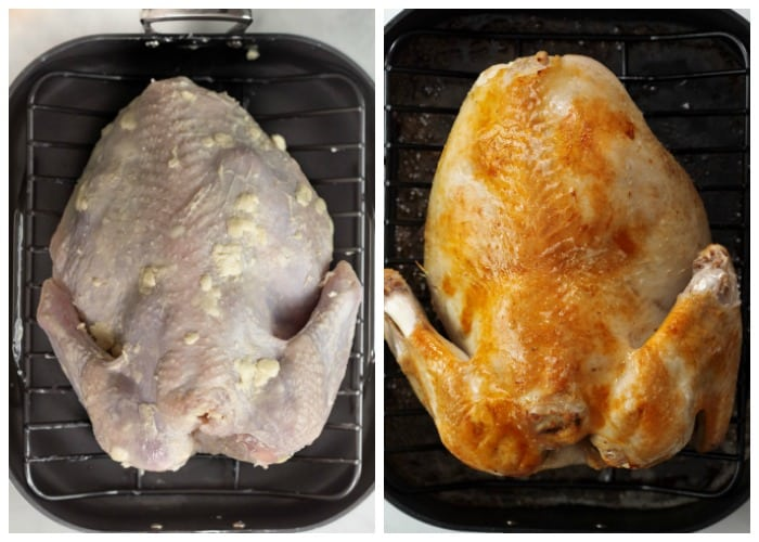A buttered turkey breast side down in a roasting pan before and after roasting.