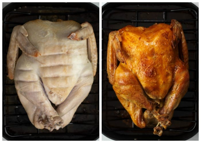 A turkey breast side up in a roasting pan before and after being roasted.
