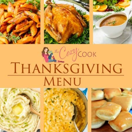 A collage of Thanksgiving recipes from The Cozy Cook.