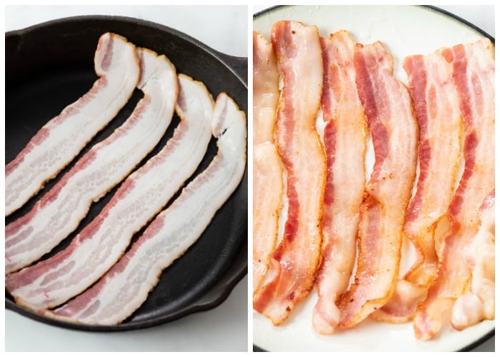 Bacon before and after being partially fried in a skillet.