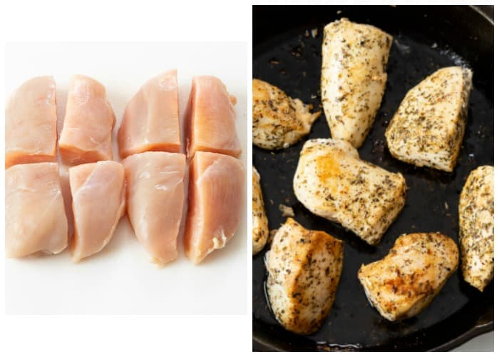 Sliced chicken breast before and after being seasoned and cooked.