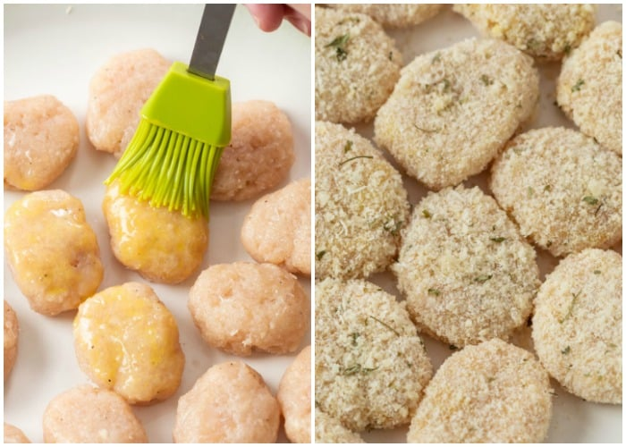 Brushing homemade chicken nuggets with whisked eggs and coating them in breadcrumbs.