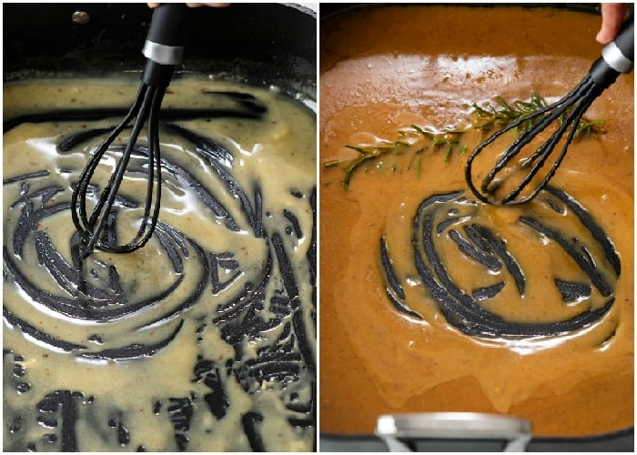 whisking roux, drippings, and broth to make turkey gravy.