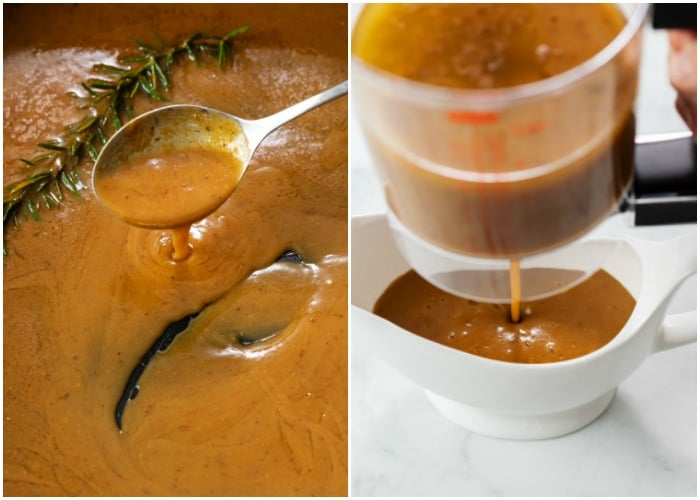 Thick brown turkey gravy in a roasting pan and then being poured into a gravy boat.