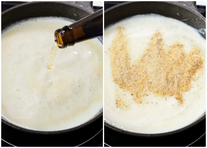 A skillet with beer and seasoning being added to make Beer Cheese Dip.