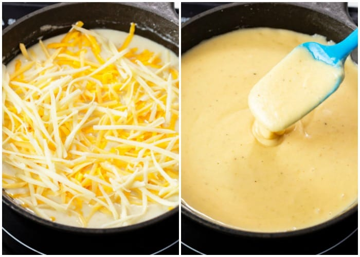 A skillet with cheese being melted in it